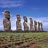 Moai statues. Ahu Akivi, Eastern Island. Chile