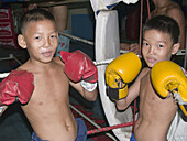 Boys training as kickboxers in a gym. Phnom Penh, Cambodia