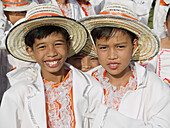 dressed up and full of smiles, young boys at the Sinulog Festival, Cebu, Philippines