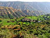 Top view Agricultural land and village on the way to Tapola. Mahabaleshwar, Satara, Maharasthra, India.
