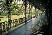 View from the front veranda of the Myrtles Plantation founded in 1796, St. Francisville. Louisiana, USA