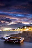 Boat stranded in La Puntica beach inn Lo Pagán, Murcia. Spain.