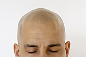 Adult, Adults, Bald, Caucasian, Caucasians, Chill out, Chilling out, Close up, Close-up, Closed eyes, Closeup, Color, Colour, Concentrate, Concentrating, Concentration, Contemporary, Eyes shut, Face, Faces, Facial expression, Facial expressions, Half, Hal