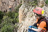 France. Island of Corsica. Adventure sports. Via ferrata