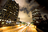 Cloudy night scene over freeway in downtown Los Angeles, California. USA.