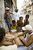 Young people playing dominos in Old Havana. Cuba