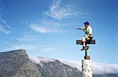 Adventurer on top looking at mountains. South Africa