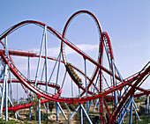 Dragon Khan Roller Coaster. Chinese area. Universal Port Aventura theme park. Tarragona. Catalonia. Spain