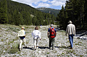 Four people taking a walk. Brunissard. Arvieux. Queyras. Hautes-Alpes. France.