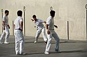 Basque pelota being played in frontón (two walled court), Zumarraga. Guipuzcoa, Euskadi, Spain
