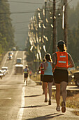Runner near Sandy, relay race from Mount Hood to the coast, Oregon, USA