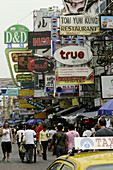 Advertisement in the Khaosan district, Bangkok, Thailand