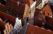 High angle view at gabled houses, Grosse Petersgrube, Luebeck, Schleswig Holstein, Germany, Europe