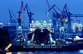 Europe, Germany, Hamburg, Blohm & Voss shipyard and dry-dock Elbe 17