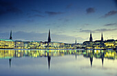 View over Inner Alster to Hamburg at night, Germany