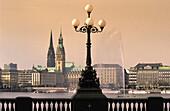 Cityscape over Inner Alster, Hamburg, Germany
