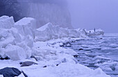 Chalk cliffs in winter, Jasmund National Park, Rugen island, Mecklenburg-Western Pommerania, Germany