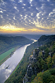 ATTENTION: Break off rocks meantime - View from Bastei over river Elbe, Saxon Switzerland, Elbe Sandstone Mountains, Saxony, Germany