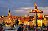 Europe, Germany, Thuringia, Erfurt, fun fair at the Cathedral Square surrounded by timbered houses