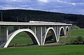 ICE train on Wälsebach bridge, near Kirchheim, Hesse, Germany