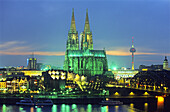 Cologne Cathedral at night, Cologne, North Rhine-Westphalia, Germany