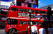 Europe, Great Britain, England, London, typical red double decker bus at Piccadilly Circus