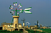 Europe, Spain, Majorca, near Sant Jordi, windmills