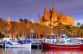 Europe, Spain, Majorca, Palma, Cathedral, La Seu, harbour
