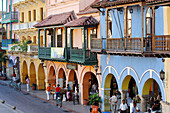 Colonial houses at Plaza de la Aduana, Cartagena, Columbia, South America