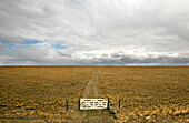 Gate and track near Rio Gallegos, Patagonia, Argentina, South America