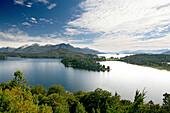 View over Lago Nahuel Huapi to Hotel LLao LLao, Patagonia, Argentina, South America