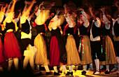 Dancing Sardanes, traditional Catalan folk dance. Saint John Festival. Perpignan. Pyrenees-Orientales. Languedoc Roussillon. France