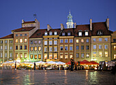 Poland, Warsaw, Old Town Square, Partially surrounded by medieval walls is the oldest district in Warsaw, From 13 century, Then main section of Warsaw, Now main tourist attraction with carriages cafes restaurants and shops