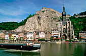 View of Dinant, alongside the river Meuse. Belgium