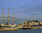Fleet of historic vessels at Hyde Street Pier, Telegraph Hill in background. San Francisco Maritime National Historical Park, San Francisco, California, USA