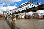 Millenium Bridge and St Pauls Cathedral, London, England, Britain, United Kingdom