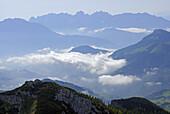 View over valley of river Inn to Kaiser range, Bavarian foothills, Upper Bavaria, Bavaria, Germany