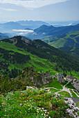 view from Wendelstein to chapell on Wendelstein and Tagweidkopf, Brünnstein and Kaiser range, Bavarian foothills, Bavarian range, Upper Bavaria, Bavaria, Germany