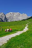 Weg in Almwiese auf Bergkulisse zu mit älterem Paar auf Bank, Eng, Enger Alm, Karwendel, Tirol, Österreich