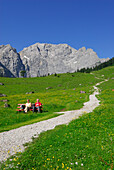 path in alpine pasture leading towards mountain range with elderly couple on bench, Eng, Enger Alm, Karwendel range, Tyrol, Austria