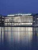 Lake Alster with Hapag Lloyd Building, Hamburg, Germany