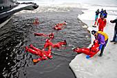 Bathing in the ice cold sea, Icebreaker Sampo, Kemi, Lapland, Finland, Europe
