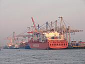 Containerschiff im Hafen, Hansestadt Hamburg, Deutschland