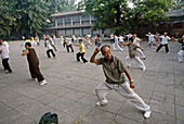 Qigong. People exercising in the morning. Beijing. China.