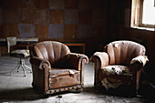 Abandoned, Abandonment, Careless, Carelessness, Chair, Chairs, Color, Colour, Couch, Couches, Daytime, Debris, Furniture, House, Houses, Indoor, Indoors, Interior, Lounge, Lounges, Open, Pair, Past, Remains, Room, Rooms, Ruins, Sofa, Sofas, Two, B20-69985