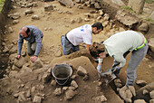 Working on the archeological site of the Stantari, at Cauria. Corsica. France