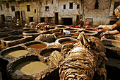 Chouara Tannery, at Fes. Morocco