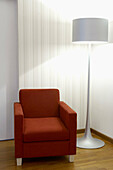 Armchair, Armchairs, Color, Colour, Contemporary, Couch, Couches, Curtain, Curtains, Daytime, Decoration, Indoor, Indoors, Interior, Interior decoration, Interior design, Lamp, Lamps, Red, Sofa, Sofas, White, B29-708284, agefotostock