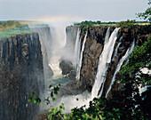 Victoria Falls seen from Zambia. Zimbabwe