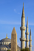 Obelisk of Theodose the 1st and minarets of the Blue Mosque (Sultan Ahmet Camii). Istanbul. Turkey